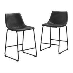 Faux Leather Bar Stool in Black