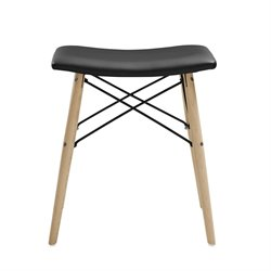 Walker Edison Faux Leather Stool in Black