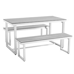 Ansville 3 Piece Dining Set in Gray