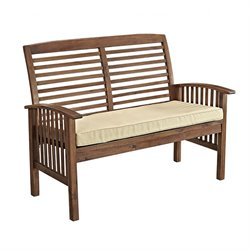Acacia Wood Patio Loveseat in Dark Brown