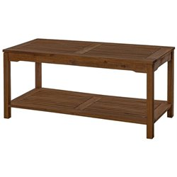 Acacia Wood Patio Coffee Table in Dark Brown