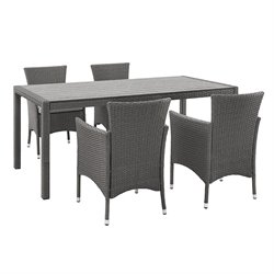 angelo HOME Rattan Patio Dining Set in Gray