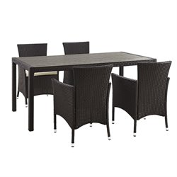 angelo HOME Rattan Patio Dining Set in Brown