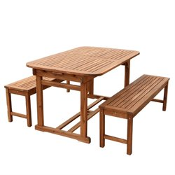 3 Piece Acacia Patio Dining Set in Brown