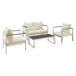 4 Piece Patio Conversation Set in Espresso