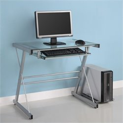 Walker Edison Solo Small Glass Top Computer Desk in Silver