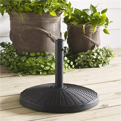 Round Wicker Umbrella Base in Black