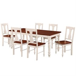 Walker Edison 7 Piece Solid Wood Dining Set in Brown and White