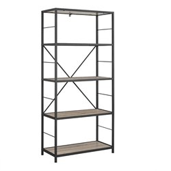 MER-1275 4 Shelf Rustic Metal Media Bookcase