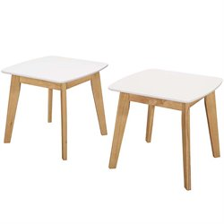 Walker Edison Retro Modern End Table in Natural and White (Set of 2)