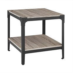MER-1275 Angle Iron Rustic Wood End Table in (Set of 2)