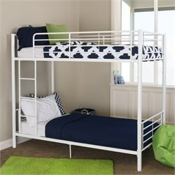 Walker Edison Sunrise Metal Bunk Bed in White Finish
