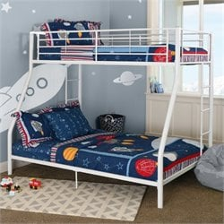 Metal Twin over Full Bunk Bed in White Finish