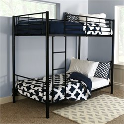 Walker Edison Sunset Twin over Twin Metal Bunk Bed in Black Finish