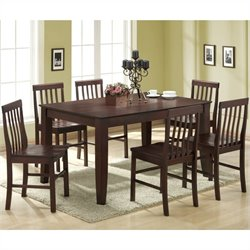 Walker Edison Abigail 7 Piece Solid Wood Dining Set  in Espresso