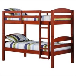 Twin Over Twin Solid Wood Bunk Bed in Cherry Finish