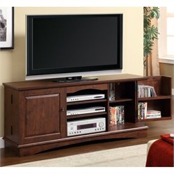 Walker Edison 60 Inch Media Storage Wood TV Console in Brown