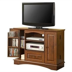 Walker Edison 42 Inch Bedroom TV Console with Media Storage in Brown