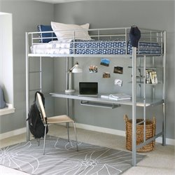 Metal Twin/Workstation Bunk Bed in Silver