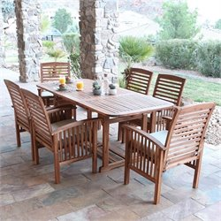 Walker Edison 7 Piece Wood Patio Dining Set in Brown with Cushions