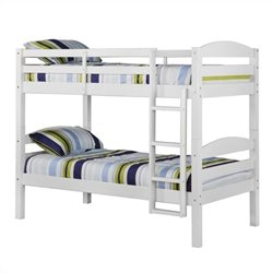Walker Edison Twin/Twin Solid Wood Bunk Bed in White