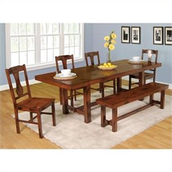 Walker Edison 6-Piece Huntsman Wood Dining Set in Dark Oak