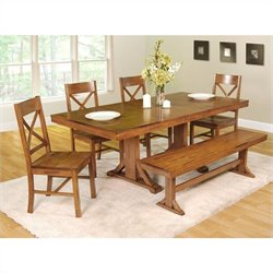 6-Piece Millwright Wood Dining Set in Antique Brown