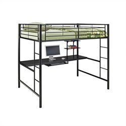 Walker Edison Metal Full over Workstation Bunk Bed in Black
