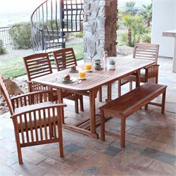 Walker Edison 6 Piece Wood Patio Dining Set in Brown with Cushions