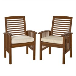 Acacia Patio Chairs with Cushions in Dark Brown Set of 2