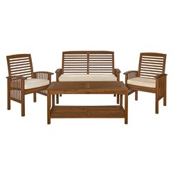 4 Piece Acacia Patio Conversation Set in Dark Brown