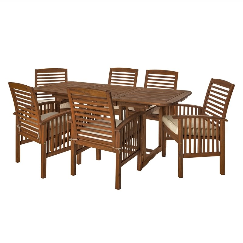 7 Piece Acacia Patio Dining Set In Dark Brown Ow7sdb