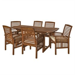 7 Piece Acacia Patio Dining Set in Dark Brown