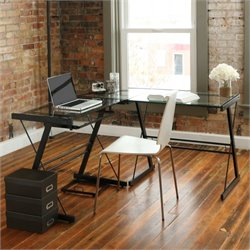 Walker Edison L Shape Glass Top Computer Desk in Black