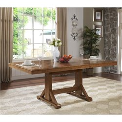 Extendable Trestle Wood Dining Table in Antique Brown