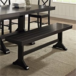 Wood Dining Bench in Antique Black