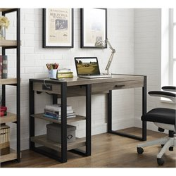 Walker Edison Urban Blend Wood Computer Desk with USB Port in Brown