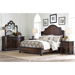 Stanley Furniture Casa D'Onore 4 Piece Queen Wood Panel Bed Set in Sella