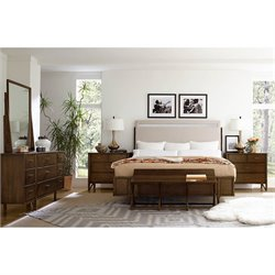 Santa Clara-Upholstered Bed 4 Piece King Bedroom Set in Burnished Walnut