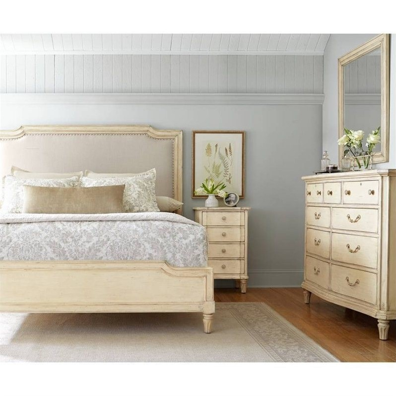 Stanley European Cottage Queen Upholstered Bed in Vintage White