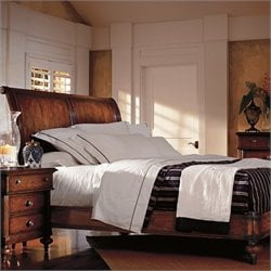 British Colonial Sleigh Bed in Caribe