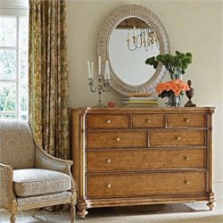 Stanley Furniture Arrondissement Belle Mode Dresser Mirror Set in Anigre