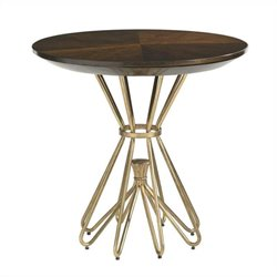 Stanley Furniture Crestaire Milo Round Lamp Table in Porter