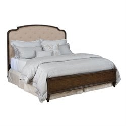 Grantham Hall Upholstered Panel Bed in Coffee