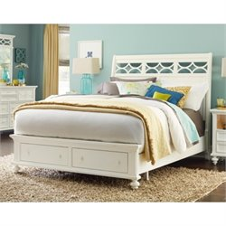 Lynn Haven Sleigh Bed with Storage in White