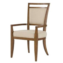 American Drew Grove Point Upholstered Arm Dining Chair in Chocolate