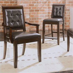 American Drew Tribecca Upholstered Leather Casual Arm Dining Chair in Root Beer Finish