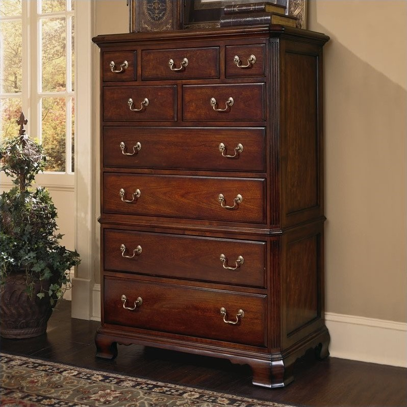 American Drew Cherry Grove 9 Drawer Chest In Antique