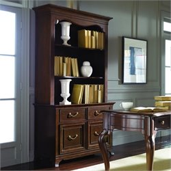American Drew Cherry Grove Bookcase with Drawers in Mid Tone Brown
