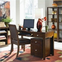 American Drew Tribecca Desk with File Caddy in Root Beer Finish